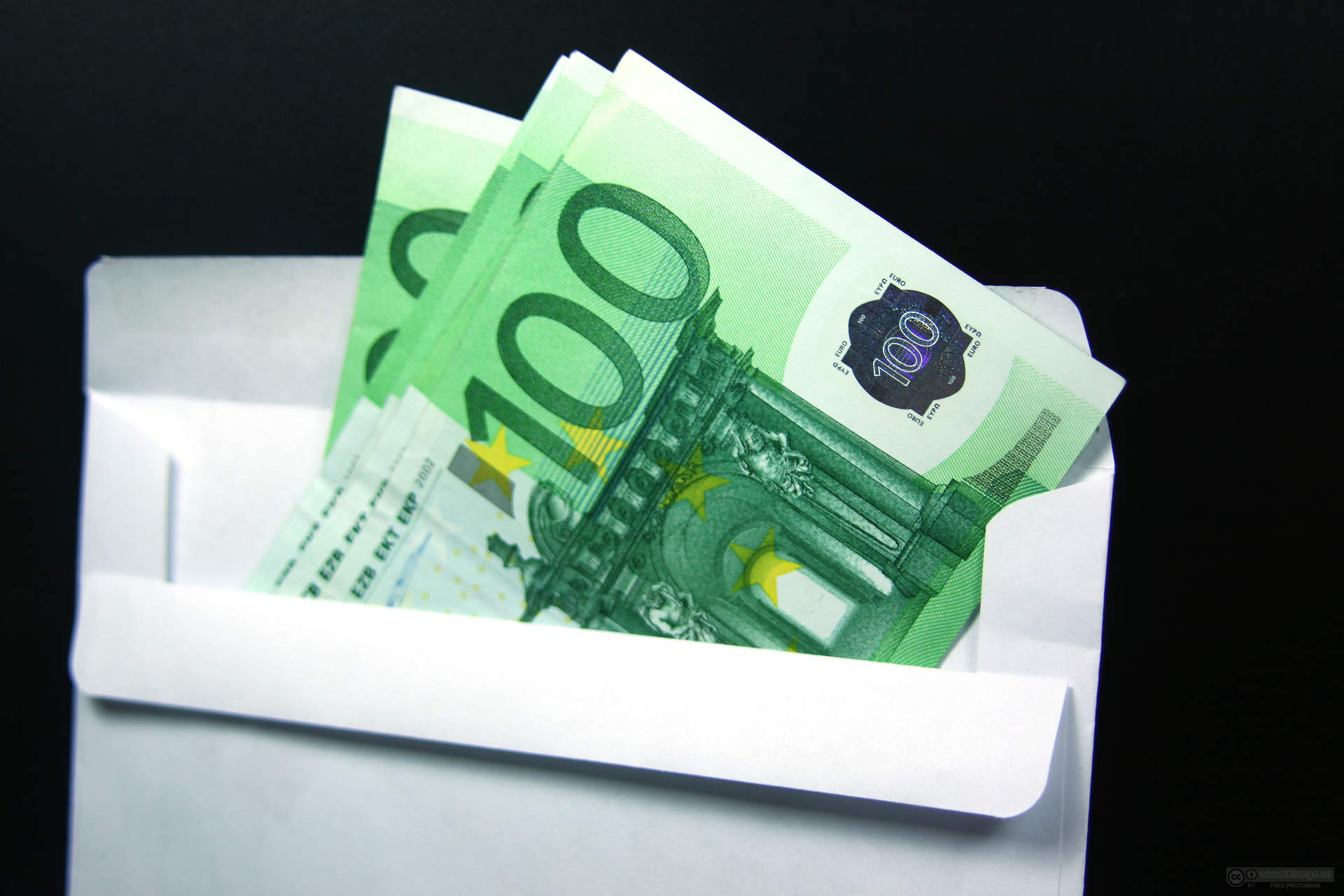 Payment Cash (cash currency). Euros in an envelope.
